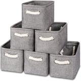 Longshore Tides Baskets Set Of 6 Cute Storage w/ Handles 11.8 X 7.8 X 5 Inch Collapsible Fabric Storage Canvas Organizer Bins Baskets For Organizing Closet Shelf Ba