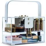 Rebrilliant Transparent Makeup Storage Box, Skin Care Storage Box w/ Drawer In Cosmetics Display Cabinet, Adjustable Divider, Detachable Slot