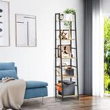 17 Stories 5-Tier Ladder Shelf Bookcase, Living Room Rustic Standing Shelf Storage Organizer, Wood & Metal Shelf For Home & Office | Wayfair in Brown