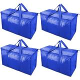 Rebrilliant 4 Pack Extra Large Moving Bags w/ Zippers & Carrying Handles, Heavy-Duty Storage Tote For Space Saving Moving Storage in Blue   Wayfair