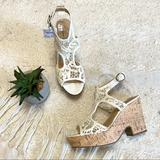 American Eagle Outfitters Shoes | New! American Eagle White Lace Peep Toe Platform Sandal Heels | Color: White | Size: 8
