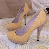 Gucci Shoes | Gucci Authentic Yellow Pumps Cute Yellow Woven Summer Heels Cork Stilettos | Color: Tan/Yellow | Size: 6.5