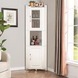 Winston Porter Corner Bookshelf Corner Triangles Cabinet Shelf Living Room Storage Cabinet in White, Size 70.9 H x 15.7 W x 15.7 D in | Wayfair