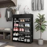Latitude Run® Beautiful & Practical 5-Tier Shoe Rack 29.5 Inches Wooden Shoe Storage Shelf Shoe Organizer in Black, Size 37.0 H x 30.0 W x 12.0 D in