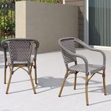 Breakwater Bay French SetsSet Of 2,Aluminum Frame Rattan Hand-Woven Outdoor Bistro Armchairs, For Patio, Lawn, Garden in Gray | Wayfair