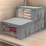 Rebrilliant Collapsible Storage Bag Non-Woven Clothes Fabric Storage Box For Shelves, Cupboards, Wardrobe, Clothes, Toys, Towel, Bathroom in Gray