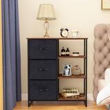 Rebrilliant 3 Drawer Dresser, Fabric Storage Tower For Bedroom, Hallway, Nursery, Closets, Tall Chest Organizer Unit w/ 4 Shelves, Steel Frame Wood