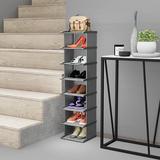 Rebrilliant Beautiful & Practical Shoe Rack 8 Tiers, DIY Narrow Stckable Shoe Organizers Vertical Storage Shelf Waterproof Dust Proof in Gray