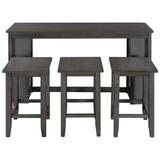 Red Barrel Studio® Farmhouse Counter Height 4-Piece Kitchen Dining Table Set w/ 3 Stools & Storage Shelves in Gray, Size 36.0 H in | Wayfair