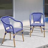 Breakwater Bay French SetsSet Of 2,Aluminum Frame Rattan Hand-Woven Outdoor Bistro Armchairs, For Patio, Lawn, Garden in Blue | Wayfair