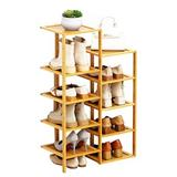 Latitude Run® 5 Tier Bamboo Shoe Rack, Flower Pots Display Storage in Yellow, Size 35.83 H x 20.47 W x 9.84 D in   Wayfair