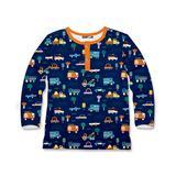 Millie & Maxx Boys' Tee Shirts Construction - Dusty Blue Construction Truck Henley - Infant, Toddler & Boys