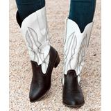 ROSY Women's Western Boots Blackwhite - Black & White Embroidered Cowboy Boots - Women