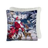 Safdie & Co. Inc. Throw Pillows Multi - White & Red Santa Snow Friends Throw Pillow