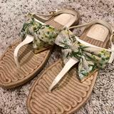 Tory Burch Shoes | For Kristi Only - Tory Burch Penny Floral Print Bow Thong Sandals | Color: Tan/White | Size: 8