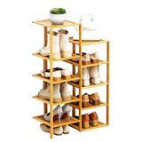 Rebrilliant 5 Tier Bamboo Shoe Rack, Flower Pots Display Storage in Yellow, Size 35.83 H x 20.47 W x 9.84 D in   Wayfair