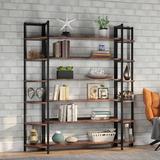 Latitude Run® Triple Wide 6-Shelf Bookshelves, 6-Tier Etagere Bookcase Bookshelves Storage & Double Bookshelf Display Shelves in Brown | Wayfair