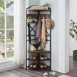 17 Stories Shoe Rack, Corner Shelf, Corner Hall Tree Coat Rack w/ 6 Double Hooks, Wood Home Organizer Shoe Bench Shelf For Entryway, Hallway, Closet