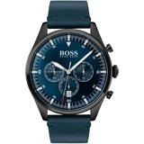 Black Plated Chronograph Watch With Blue Dial And Strap - Blue - BOSS by Hugo Boss Watches