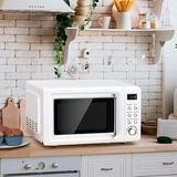 "Love life Retro Compact 18"" W 0.7 cu ft. External 700W Countertop Microwave w/ Air Frying Capability in Black/White | Wayfair B07N8TYG5N"