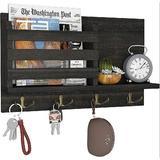 long_ye_da Key Holder For Wall Mail Organizer w/ 4 Double Key Hooks Floating Shelf Rustic Wood Decorative Hanger in Black | Wayfair