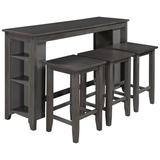 Red Barrel Studio® Rustic Farmhouse Counter Height Wood 4-Piece Kitchen Dining Table Set w/ 3 Stools & Storage Shelves Gray Wood in Brown/Gray