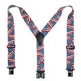 "Perry Suspenders Mens Elastic Hook End 2"" Novelty Suspenders (US Flag, One Size)"