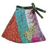 Jedzebel Short Reversible Silk-Blend Patchwork Sari Wrap Skirt - DN19