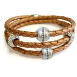 Sterling Silver 10-10.5mm Natural Freshwater Pearl Braided Leather Wrap Bracelet In Rose Gold At Nordstrom Rack - Metallic - Liza Schwartz Bracelets