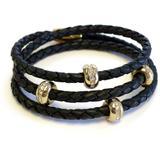 Good Karma 18k Gold Plated Cz Station Braided Leather Triple Wrap Bracelet In Black At Nordstrom Rack - Black - Liza Schwartz Bracelets