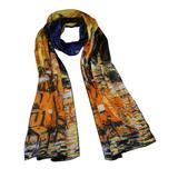 "Dahlia Women's 100% Luxury Long Silk Scarf - Van Gogh""Cafe Terrace at Night"""