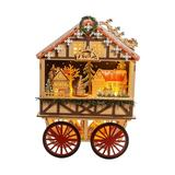 Kurt S. Adler Multicolored 18.9-Inch Battery-Operated Light Up Musical Wood Wagon with Santa and Christmas Village Scene