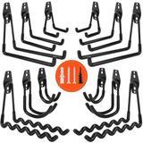 MELODY Garage Hooks, 12-Piece Heavy Duty Garage Storage Hooks & Hangers, Practical Wall-Mounted Garage Hooks w/ Non-Slip Coating in Black | Wayfair
