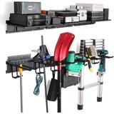MELODY Garage Tool Storage Rack Wall Mounted Rack w/ 6 Adjustable Hook Hangers Garden Tool Storage Rack For Chairs, Brooms, Mops, Rakes, Ropes, Etc