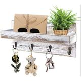 long_ye_da Key Holder For Wall Key Hanger Vintage Rustic Wooden Decorative Shelf Mail Organizer in White, Size 6.3 H x 13.7 W x 3.94 D in | Wayfair