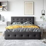 Disney Upholstered Platform Bed w/ Classic Headboard & 4 Drawers, No Box Spring Needed, Linen Fabric, Queen Size in Gray | Wayfair MDKMV211810