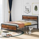 Disney Metal & Wood Bed Frame w/ Headboard & Footboard, Queen Size Platform Bed, No Box Spring Needed, Easy To Assemble(White) in Black/Brown