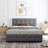 Disney Upholstered Platform Bed w/ Classic Headboard & 4 Drawers, No Box Spring Needed, Linen Fabric, Queen Size in Gray | Wayfair MDKMV211808