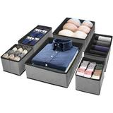 Rebrilliant Foldable Cloth Storage Box Closet Dresser Drawer Organizer Fabric Baskets Bins Containers Divider For Storing Bras, Baby Clothing in Gray