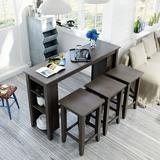 Disney TOPMAX Rustic Farmhouse Counter Height Wood 4-Piece Kitchen Dining Table Set w/ 3 Stools & Storage Shelves, Gray, Size 36.0 H in | Wayfair