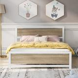 Disney Metal & Wood Bed Frame w/ Headboard & Footboard, Queen Size Platform Bed, No Box Spring Needed, Easy To Assemble(White) in White/Brown