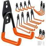 MELODY 12-Piece Garage Hooks Heavy Duty, Practical Steel Garage Storage Hooks, Wall-Mounted Garage Hangers & Receptacles For Organizing Power Tools