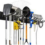 ZLI Garage Storage Tool Organizer Rack Heavy Duty Tools Garage Organization Wall Mount Rack Hanger w/ 6 Hooks 48Inch Tracks Max Load 265Lb,Convenient An