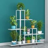 Arlmont & Co. Metal Plant Stand Indoor Outdoor Flower Shelf Rack Stands w/ Wheels 5 Tier 13 Potted Moving Planter Display Shelving Holder Organizer