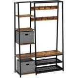"""17 Stories Hall Tree w/ Storage Bench, 5-In-1 Entryway Shelf w/ Coat Rack, 70.8"""" Coat Stand w/ 5 Side Shelves, 2 Foldable Storage Cubes in Black"""