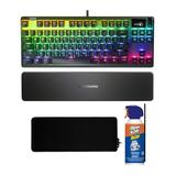 Steel Series SteelSeries Apex Pro TKL Mechanical Switches Gaming Keyboard (Renewed) with Gaming Mouse Pad Bundle in Black