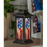 Evergreen Solar Lanterns - Red & Blue Americana Glitter Film Solar Lantern