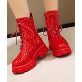 BUTITI Women's Casual boots Red - Red Patent Side-Zip Platform Combat Boot - Women