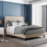 Disney Upholstered Platform Bed w/ Classic Headboard, Box Spring Needed, Gray Linen Fabric, Queen Size, Size 51.2 H x 65.3 W x 84.8 D in | Wayfair