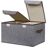 Latitude Run® Large Storage Bins Linen Fabric Foldable Basket Cubes Organizer Storage Box Drawer w/ Lid & Handles For Home, Office, Closet, Bedroom